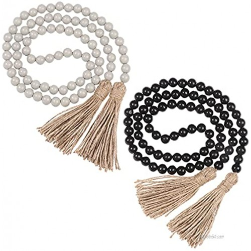 2 PCS Wood Bead Garland with Tassels 58in Farmhouse Beads Rustic Country Decor Boho Beads for Home Wall Hanging Decoration Black+Grey