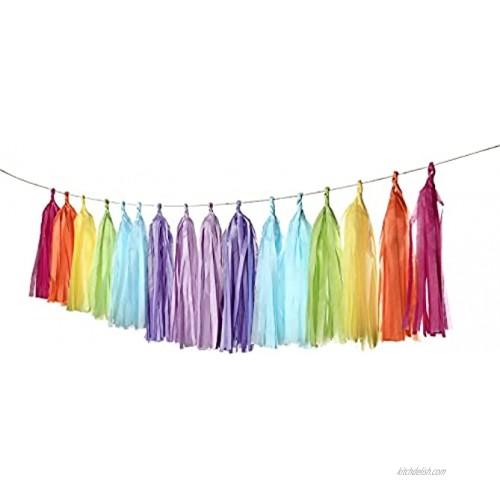 Autupy 35 PCS Rainbow Tissue Paper Tassel DIY Party Garland Decor for All Events & OccasionsUnicorn Pastel