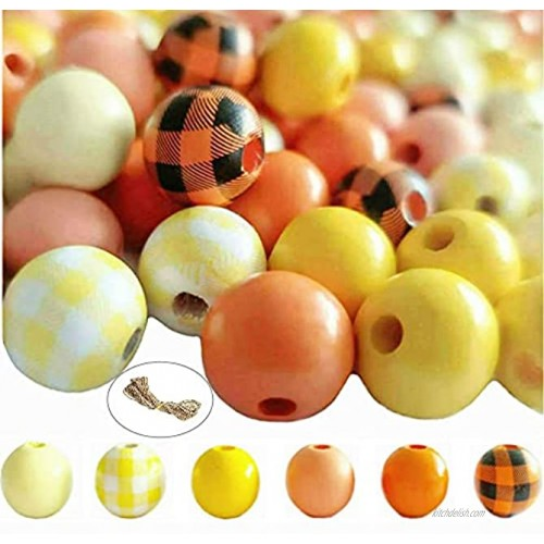 Fall Harvest Beads with Jute Ropes-180pcs Buffalo Plaid Pumpkin Orange Wood Beads,16mm Natural Farmhouse Rustic Polished Smooth Spacer Round Beads for Fall Autumn Garland Thanksgiving Halloween DIY