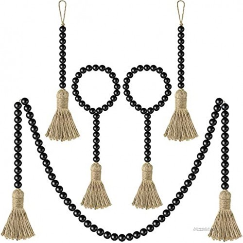 Jetec 5 Pieces Fall Wood Bead Garland with Tassel Black Natural Prayer Wood Beads Rustic Wooden Bead Ornaments Farmhouse Beads Wall Hanging Decors for Halloween Thanksgiving Home Decoration