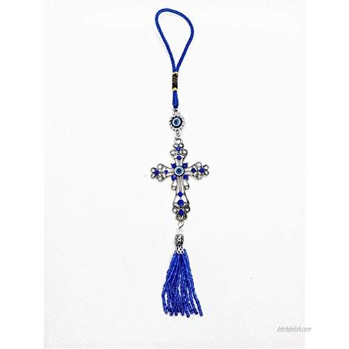 "LUCKBOOSTIUM Lucky Evil Eye Car Hanging Ornament Cross w Blue Crystal Rhinestones Tassels Charms Tranquility Calm Understanding Rear View Mirror Accessories Home Decor & Charm 2""x10.5"""