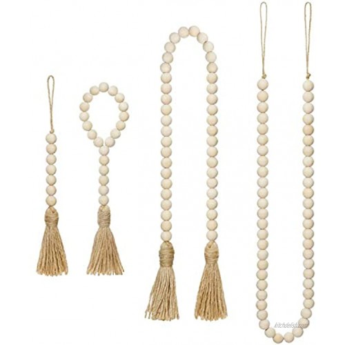 Mkono Wood Beads Garland with Tassels 4 Styles Prayer Beads Farmhouse Rustic Natural Wooden Bead String Wall Hanging for Baby Nursery Room Decor,Wedding Vase Ornament Jute Rope