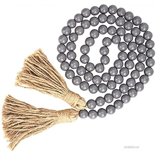 Prometis 58in pc Farmhouse Wood Beads Garland Rustic Prayer Boho Country Beads with Tassels for Big Wall Hanging Decor Grey