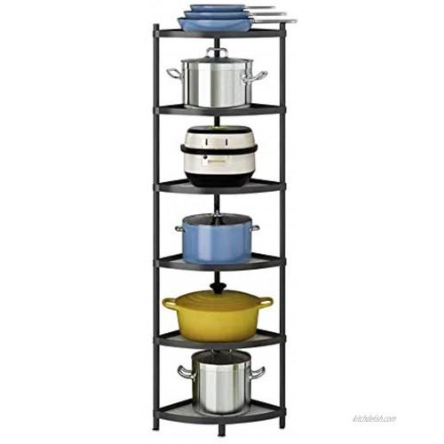 6-Tier Kitchen Corner Shelf Rack Multi-Layer Pot Rack Storage Organizer Stainless Steel Shelves Shelf Holder