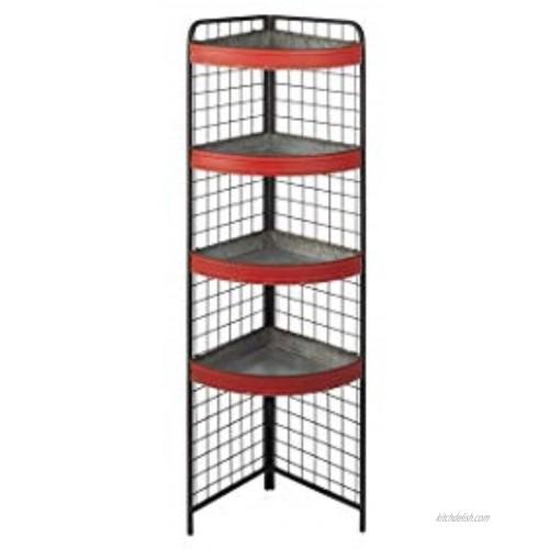 Ganz CB174000 Distressed Red Three Tiered Corner Shelf 59-inch Height Metal
