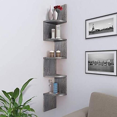 Nova Furniture Group 5 Tiers Floating Wall Mount Corner Shelf Home Decor Display Shelves