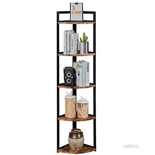 Superjare Corner Shelf Industrial 5 Tier Wood Wall Corner Bookshelf with Metal Frame Corner Storage Rack Shelves Display Plant Flower Stand Bookcase for Home Office Kitchen Rustic Brown