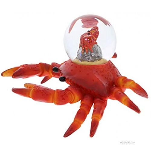 CoTa Global Animal Glitter Snow Globe Glass Collectibles Cool Land & Ocean Decor Wildlife Figurines Snow Globes Centerpiece Nautical Water Globes For Home Decor & Shelf Decorations 45mm Crab