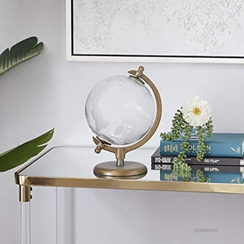 Deco 79 Traditional Glass and Metal Globe Decor 9W x 12H White Gold