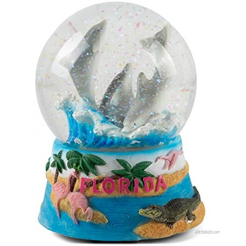 Elanze Designs Florida Dolphins Figurine 100MM Water Globe Plays Tune by The Beautiful Sea