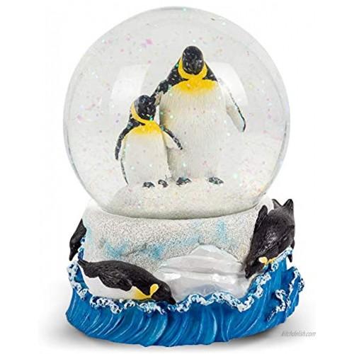 Elanze Designs Playful Penguins Figurine 100MM Water Globe Plays Tune Born Free