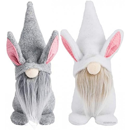 2 Pack Easter Mr and Mrs Bunny Gnomes Plush- Standable Handmade Swedish Tomte in 2 Styles Adorable Scandinavian Faceless Doll Table Centerpiece Party Favors for Easter Home Decoration Holiday Presents