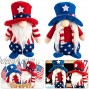 2 Pack Independent Day Gnome Plush Dolls- Patriotic Uncle Sam Gnome Couple with Stars & Stripes Clothes Decorative Swedish Tomte Ornaments Party Favors for 4th of July Home Decor Veterans Day Presents