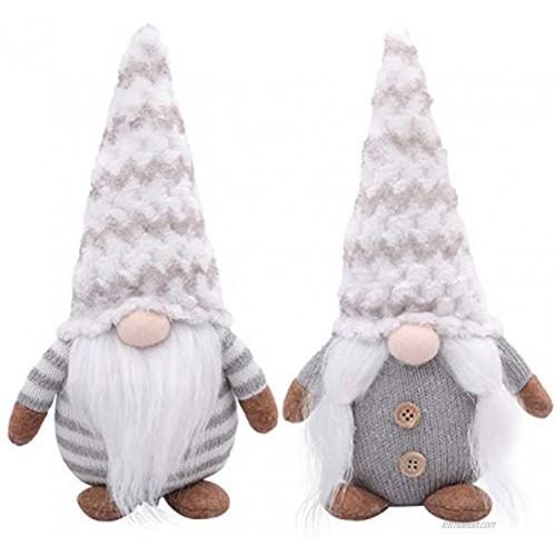 LABOTA 2Pcs Christmas Gnome Plush Handmade Swedish Tomte Christmas Decoration Kids Birthday Present Home Ornaments Tabletop Santa Figurines Grey 11 Inches