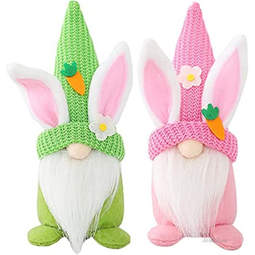 Vaupan 2 Pcs Bunny Gnome Handmade Gnome Faceless Plush Doll Christmas Elf Decoration Ornaments Thanks Giving Day Gifts Swedish Gnomes tomte Collection