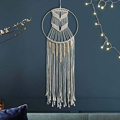 Protecu Macrame Dream Catcher for Wall Decor Handmade Boho Dreamcatcher Kit or Bedroom | Wall Hanging Dream Catchers for Room Decorations & Gifts for Baby Kids Girls Mom Boho & Beads