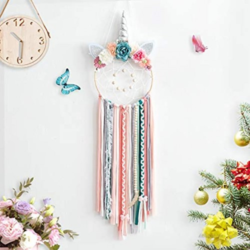 TEESHLY Unicorn Dream Catchers with Flowers Handmade Woven Dreamcatchers for Wall Hanging Decoration Dream Catcher with Braids Ornament for Girls Kids Silver Horn