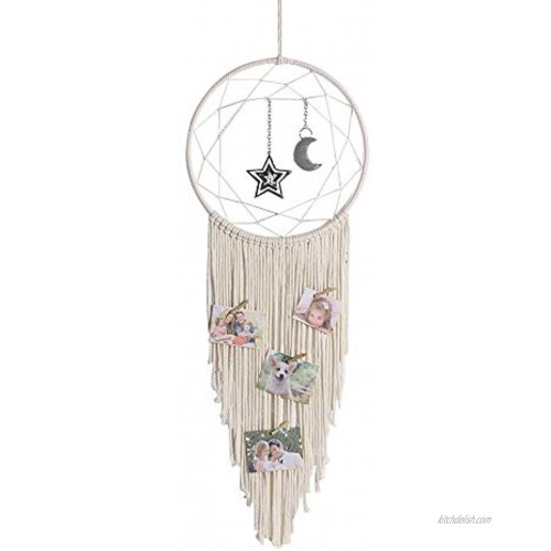 TheFabAccessories Boho Macrame Wall Hanging Dream Catcher for Bedroom with Moon and Stars Chic Woven Handmade with White Cotton Cord Big Bohemian Room Decorations for Kids