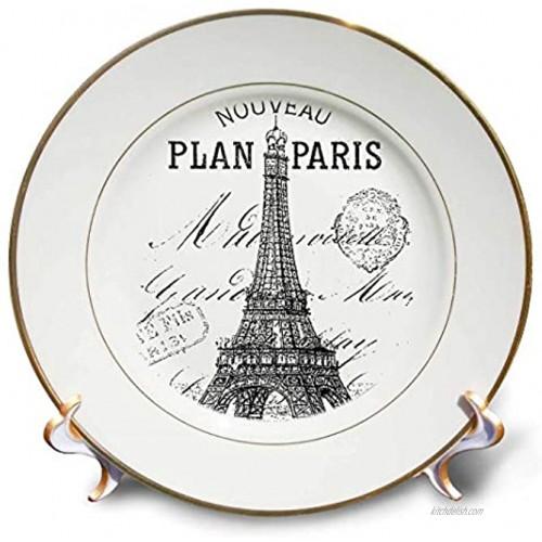 3dRose cp_110389_1 Nouveau Paris Vintage Eiffel Tower-Porcelain Plate 8