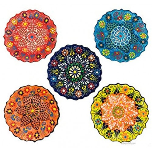 Ayennur Turkish Decorative Small Plates Set of 5 5.11 13cm Multicolor Handmade Ceramic Ornament for Home&Office Hanging Wall Decors Multi 2