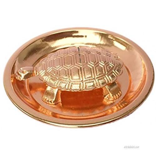 Feng Shui Copper plate & Tortoise  Turtle Lucky best wishes Vastu Living Positivity Wealth Good health ,Good Luck & Longevity for Home Office Decor Gift Items. Set of 1