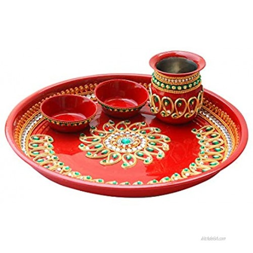 Handcrafted Pooja Thali with Kalash Plate Platter Engagement Plate Decorative Steel Puja Thali with Essential Pooja Articles for Aarti Pooja Rituals Festival Wedding Decorations & Gifting Size- 9