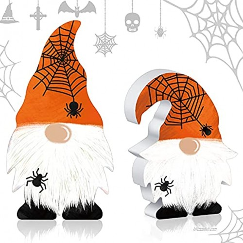 Jetec 2 Pieces Wooden Gnome Sign Halloween Spider Table Decor Farmhouse Tiered Tray Decoration Freestanding Wood Gnome Orange Rustic Swedish Gnome for Tiered Tray Birthday Desk Office Home Party