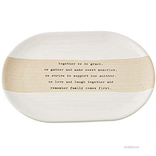 Mud Pie Stoneware Together Plate 7 x 10 | Crate 8 x 11 White