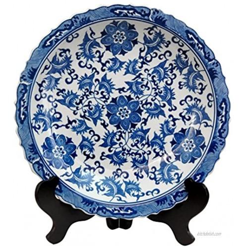 Oriental Furniture 14 Floral Blue & White Porcelain Plate