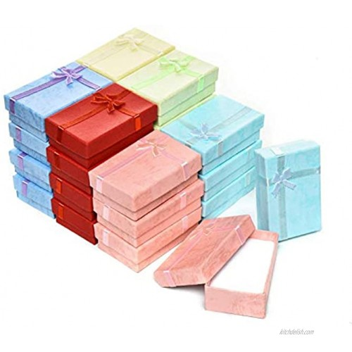 24-Piece Gifts Box Set AQUEENLY Jewelry Gift Boxes for Rings Pendants Earring Necklaces Cardboard Jewelry Boxes for Anniversaries Weddings Birthdays Assorted Colors 3.2 x 2.0 x 1.1 Inches