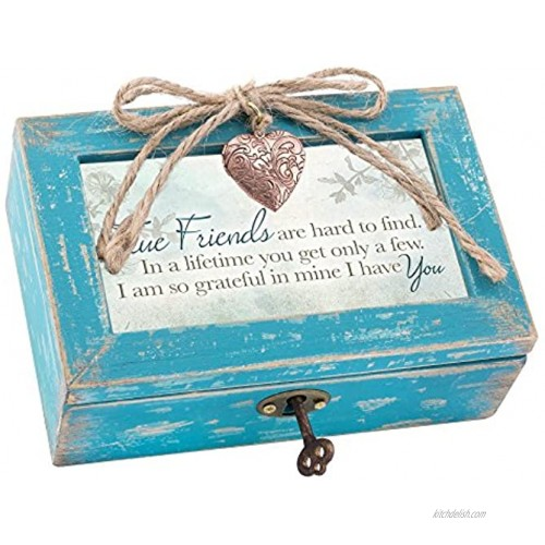 Cottage Garden True Friends Grateful Teal Wood Locket Jewelry Music Box Plays Tune That's What Friends are for