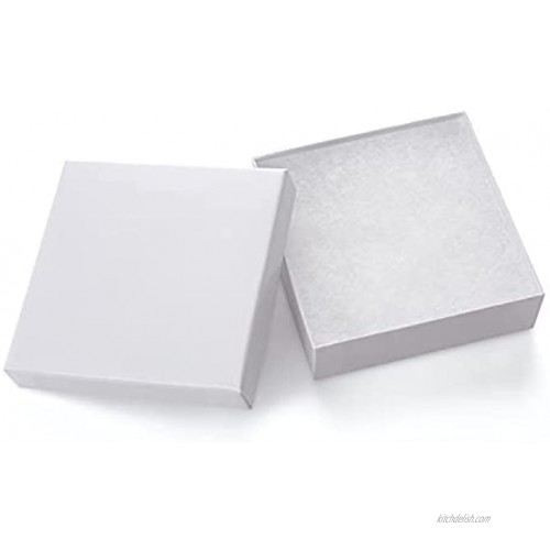 Giftol 20 Pack 3.5x3.5x1 Inch Cardboard Jewelry Boxes,Small Gift Boxes for Jewelry Earrings Necklaces Handmade Bangles BraceletsWhite