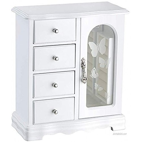 Jewelry Box Made of Solid Wood with 4 Drawers Organizer and Built-in Necklace Carousel and Large Mirror White