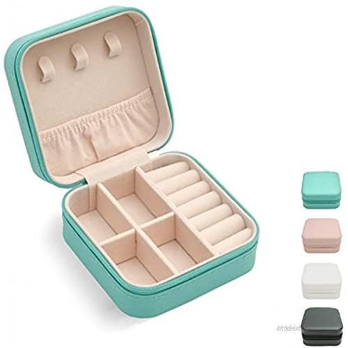 Mini Jewelry Travel Case,Small Travel Jewelry Organizer Portable Jewelry Box Travel Mini Storage Organizer Portable Display Storage Box For Rings Earrings Necklaces Gifts TRODANCE Blue