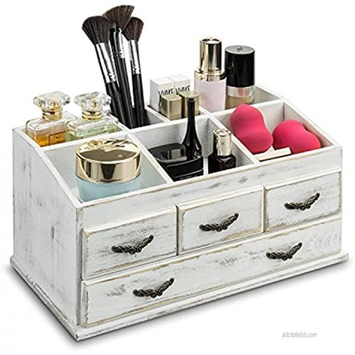 MyGift 7-Compartment Shabby Whitewashed Solid Wood Jewelry Cosmetics Vanity Organizer Rack with 4 Vintage Storage Drawers