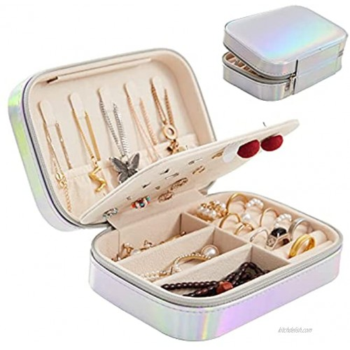 Shemboli Small Jewelry Box,PU Leather Portable Travel Jewelry Organizer,Double Layers Jewelery Display Storage Organizer Case for Rings Earrings Necklaces Bracelets,Gifts for Women Girls Laser White