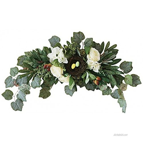 æ— 30 Inch Artificial Peony Flower Swag with Green Leaves Spring Hanging Floral Swag Wedding Arch Wreath for Party Home Garden Front Door Wall Decoration
