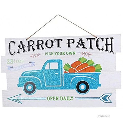 CGT Carrot Patch Blue Truck Hanging Wall Decor Easter Sign