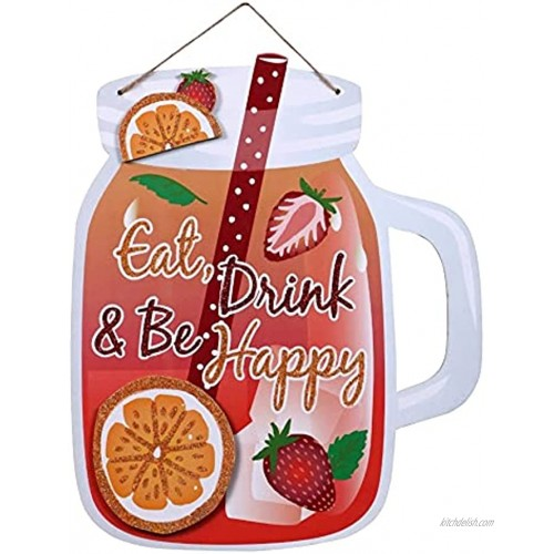 CGT Eat Drink & Be Happy Summer Beverage Glitter Hanging Wall Sign Celebration Party Pool Barbecue Beach Birthday Home Decor