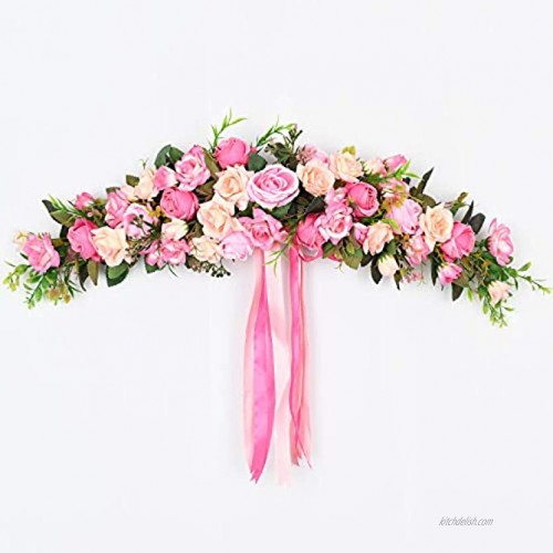 Lvydec Artificial Rose Flower Swag 25 Inch Decorative Swag with Pink Roses Green Leaves and Silk Ribbon for Wedding Arch Front Door Wall Decor