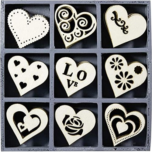 cArt-Us 10.5 x 10.5 cm Wooden Box Containing 45 Heart Embellishments