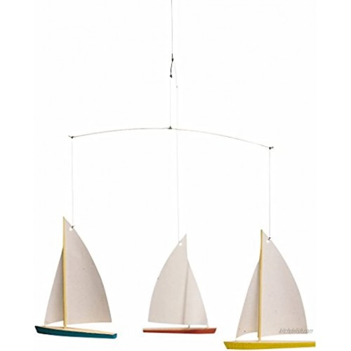 Dinghy Regatta 3 Hanging Mobile 15 Inches Beech Wood Handmade in Denmark by Flensted