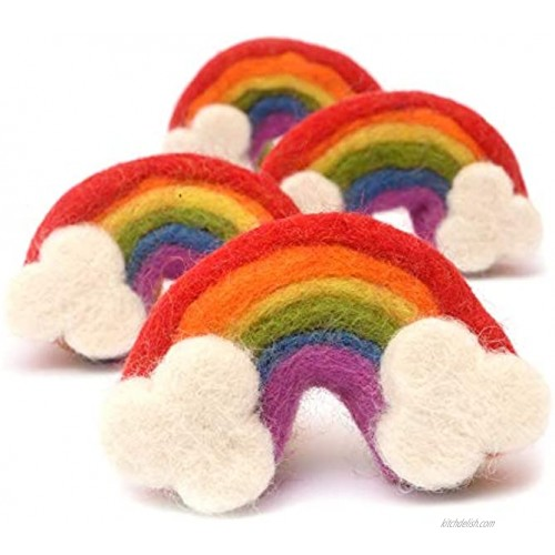 Glaciart One Large Felt Rainbows Garlands Crafts Decor Baby Mobile Ornament Soft Colorful Plush for Kids' Rooms Nursery 100% New Zealand Wool Felted in Nepal Essential Oil Ready 4-Pack