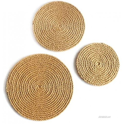 CVHOMEDECO. Rustic Hemp Rope Round Disc for Wall Hanging Indoor DIY Wall Art Sculptures for Home Office and Hotel Primitive Country Style Décor. Set of 3 12 10 8 Inch