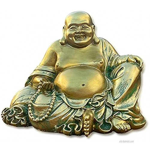 Laughing Buddha Statue for Home Decor – Handmade Antique Gold Style Big Happy Golden Buddha Sculpture Lucky Buddha Statue for Wealth and Happiness – 6.5 Sitting Buddha