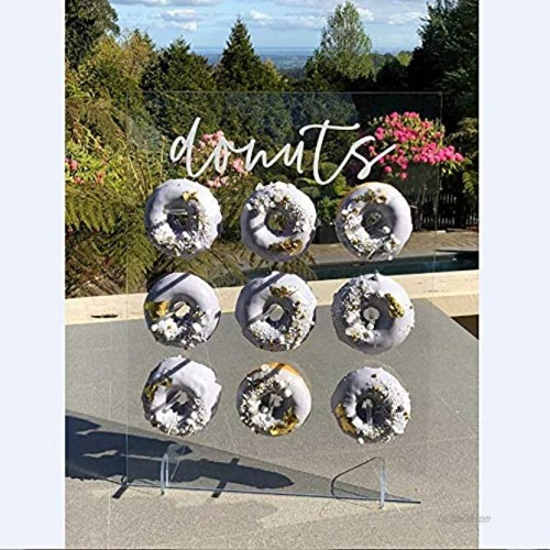 LUGUNU Reusable Acrylic Donut Wall Display On Table Donut Wall for Baby Showers Bridal Shower Wedding Party Birthday Decorations 9 Pillars 12 x 16 Inches Say Donuts