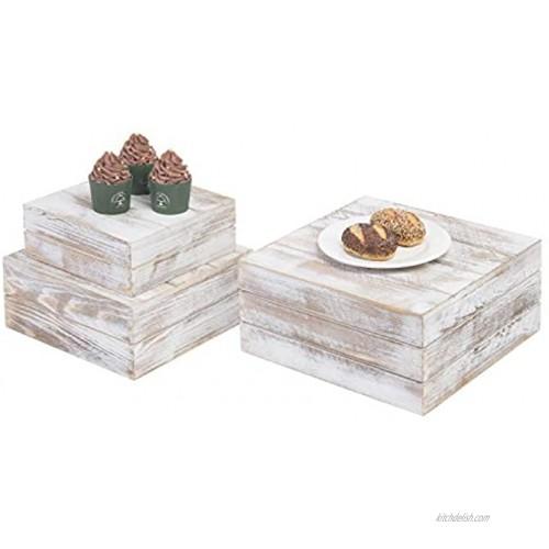 MyGift Shabby Whitewashed Wood Nesting Crate Display Risers Set of 3