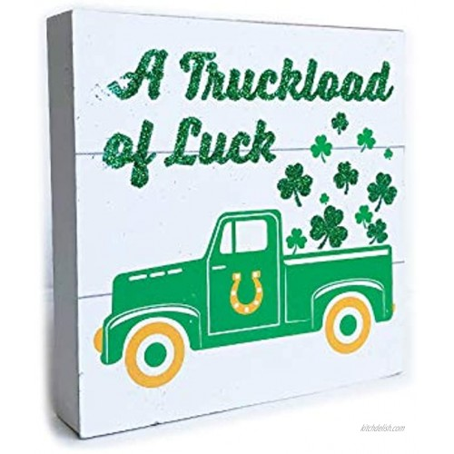 St Patricks Day Decorations for The Home Irish Table Decor Small White Wooden Plank Sign Saint Shamrock Office Desk Room Kitchen Countertop Display Wood Sentiment Words Sayings A Truckload of Luck