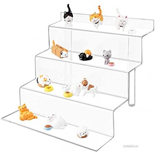 TSCXWFV Acrylic Riser Display Stand,4 Tier Acrylic Riser Display Shelf,Clear Acrylic Display Riser,Acrylic Shelves for Collectibles Amiibo Pops Figures Cupcakes Perfumes