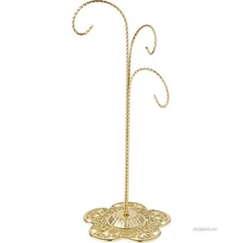 Bard's Filigree 3 Arm Gold-Toned Ornament Stand 12.75 H x 5 W x 5 D